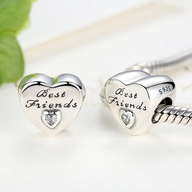 BEST FRIENDS BFF Love Heart Stone Charm