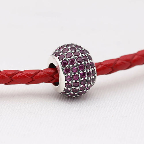 Red crystal Pave Ball Pendant Charm