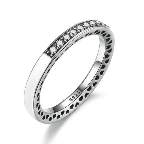 Sparkling White Radiant Hearts of European Ring pandora style