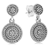 Silver Sterling Radiant Elegance Drop Sparkling Earrings