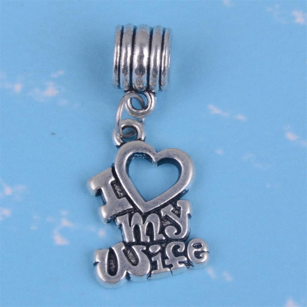 pandora compatible Silver Plated I Love My wife heart Pendant Charm