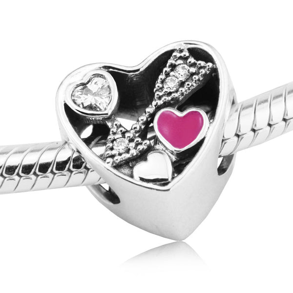 STRUCK BY LOVE PINK HEART CHARM fits pandora