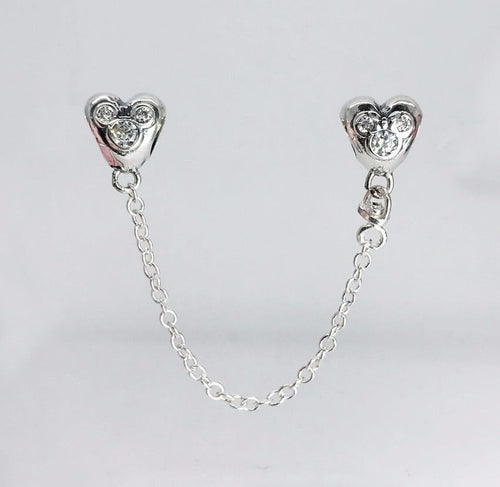 Silver Sterling Hearts of Mickey Minnie Mouse Disney Safety Chain fits pandora bracelets
