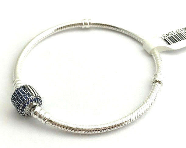 925 Silver Starter Moments Bracelet Blue Pave Barrel Clasp