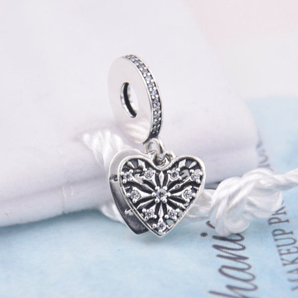Silver Sterling Heart of winter snowflake ice crystal Charm