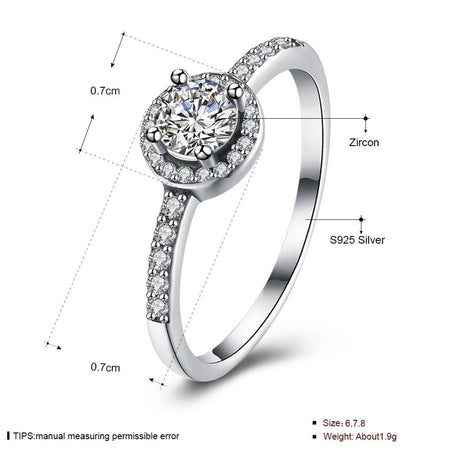 Silver Sterling Forever Love Round Halo Ring
