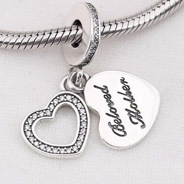 silver sterling beloved mother mum Dangle Hanging CHARM for pandora