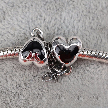 Silver Sterling Gold Heart & Crown two tone safety chain