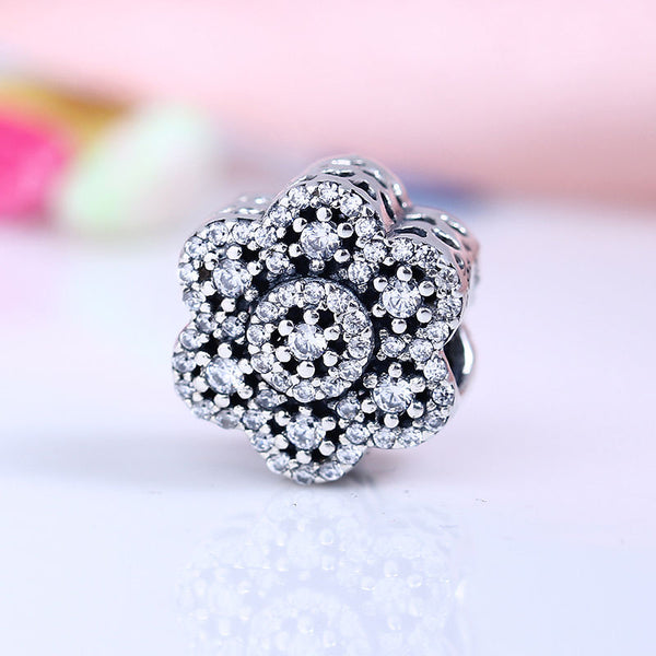 ice floral crystal charm for pandora bracelets
