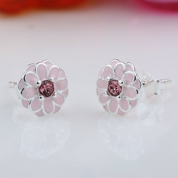 Silver Sterling Pink Cherry Blossom Primrose Floral Earrings