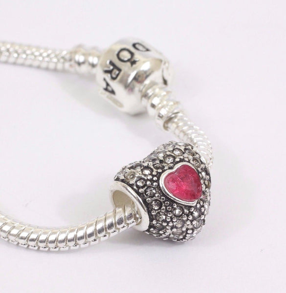 Silver Plated Red Pave Heart Charm for pandora bracelets
