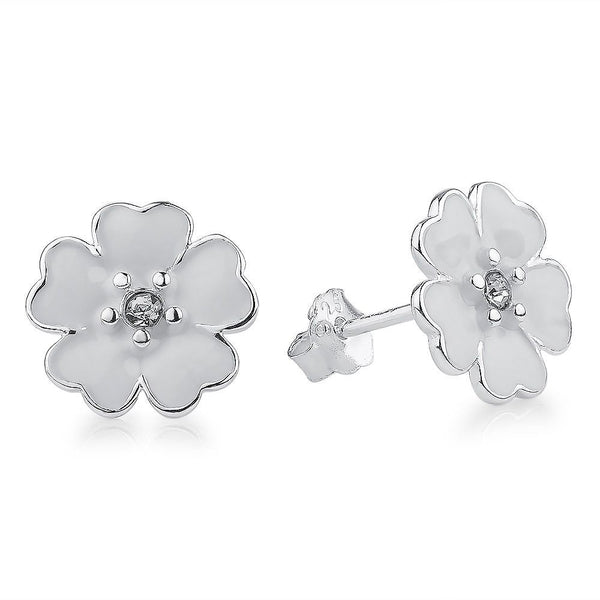 Silver Sterling White Enamel Primrose Floral Earrings pandora style