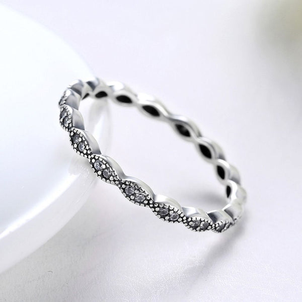 Silver Sterling slim Delicate Band of Shimmering Leaves Stackable Stone Ring
