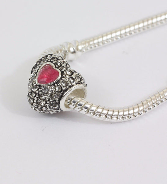 Silver Plated Red Pave Heart Charm