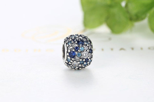 Silver Sterling Blue crystal Pave Mosaic Ball Charm