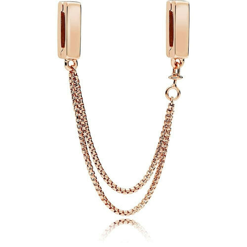 925 Silver Rose Gold Reflexions Floating Clip On Safety Chain