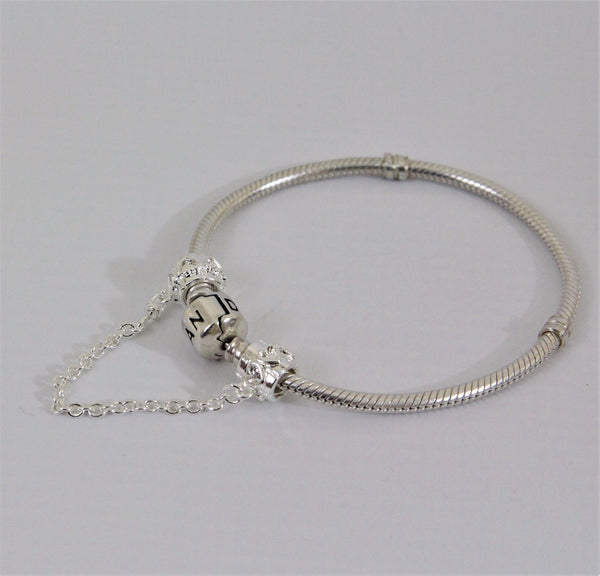 Silver Plated Love hearts pattern safety chain