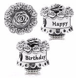 Happy Birthday Rose Cake Celebration charm fits pandora