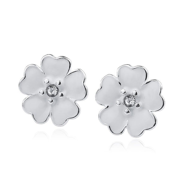Silver Sterling White Enamel Primrose Floral Earrings