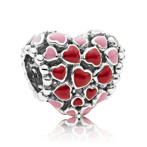 925 Silver Sterling Red enamel love heart Charm fits pandora