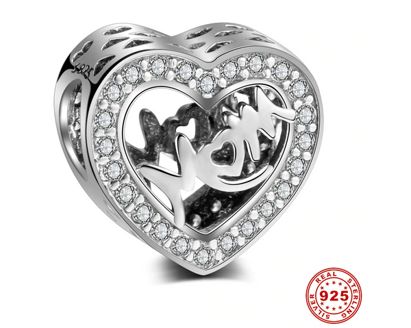 Sterling Silver mum mom mother day love pave heart Charm