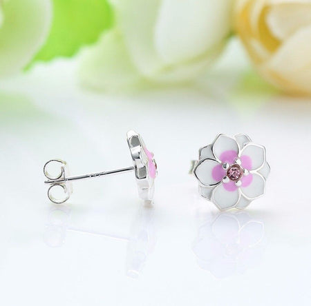 Silver Sterling Darling Daisy White Enamel Floral Earrings