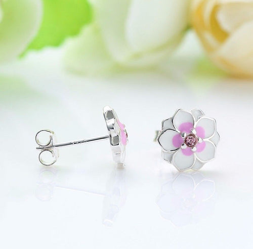 Silver Sterling Pink Magnolia Floral Daisy Earrings pandora style