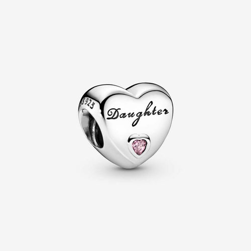 Mother Daughter Love Heart Stone Charm