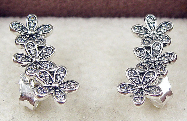 Silver Sterling DAZZLING DAISY CLUSTERS European STUDS EARRINGS pandora style