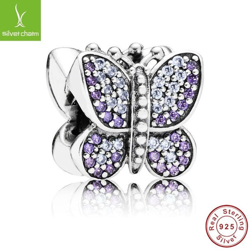 Sparkling pave purple butterfly Charm fits pandora