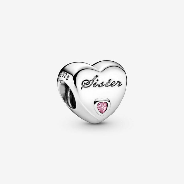 Sister Love Heart Stone Charm