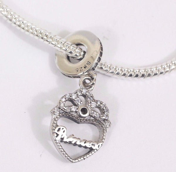 925 Silver Sterling Princess Crown Heart Pendant Charm fits pandora