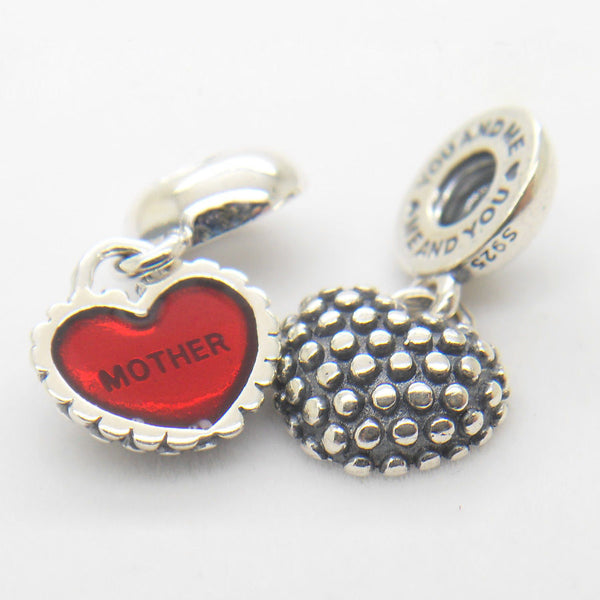 Mother & Daughter Duo Twin Heart Mom Mum love Dangle Pendant Charm