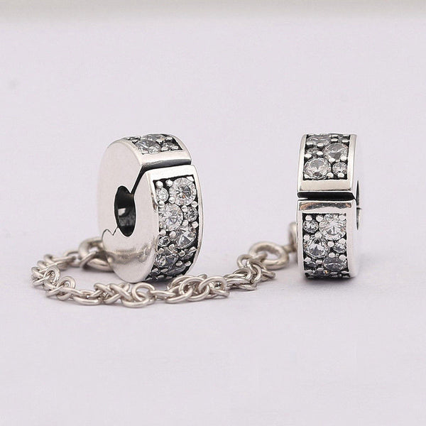 Silver Sterling PAVÉ INSPIRATION Stone Clip On Safety Chain