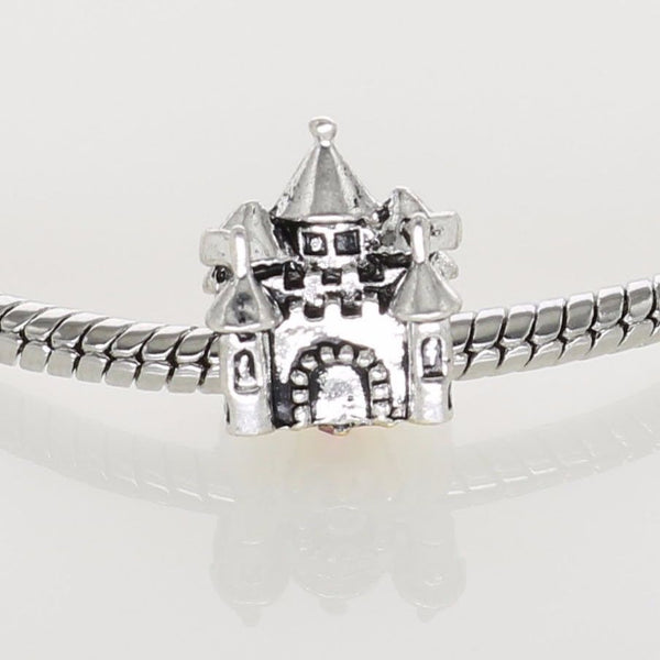 Silver Plated Princess Castle Gold Crown Charm