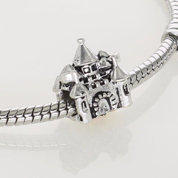 Silver plated Disney Princess Castle Gold Crown Charm fits pandora