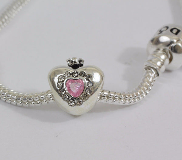 Silver Plated Heart Crown Pink Charm