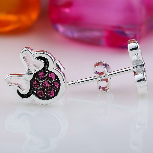 Silver Sterling Dazzling Minnie key Mouse bow stone Earrings