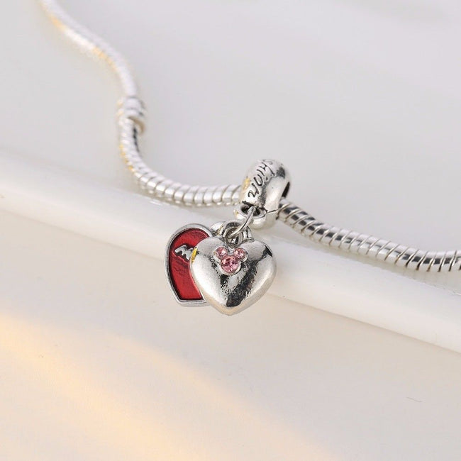 Red Mickey mouse stone dangle twin Heart Charm
