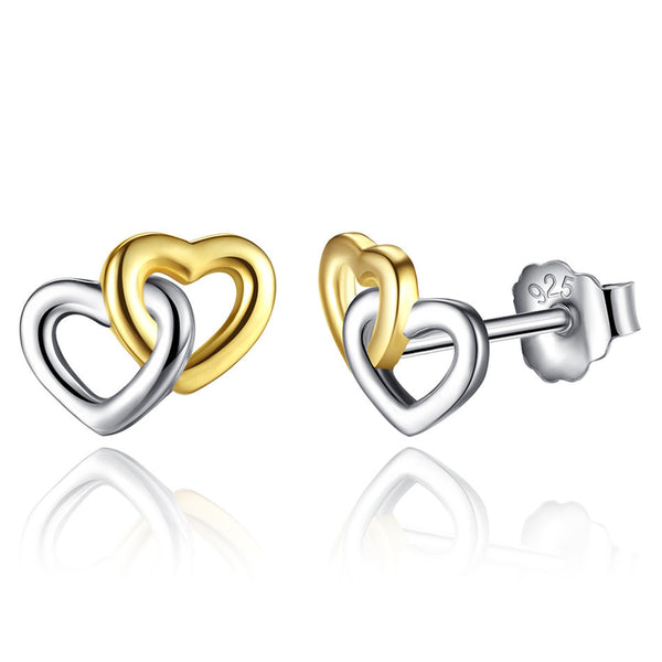3fae0fbb3 Sterling Silver twin Locked hearts two tone entwined studs – supersterling