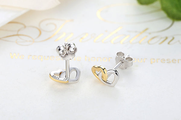 Sterling Silver twin Locked hearts two tone entwined studs
