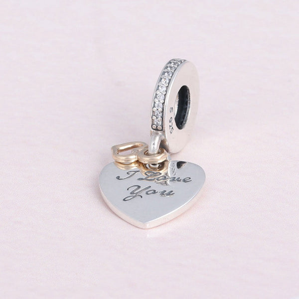 I Love You Forever Gold Heart Pendant Charm