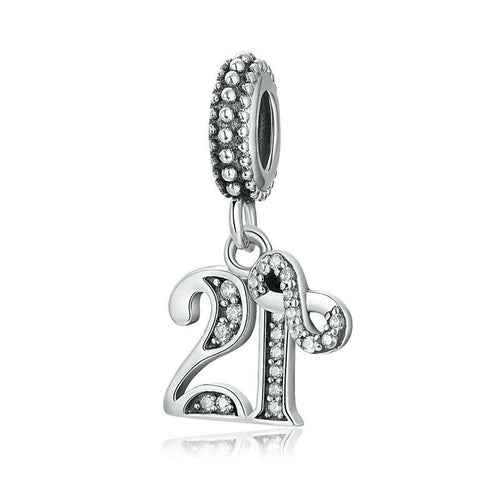 925 Silver 21 Years  Of Love Number Pendant Charm