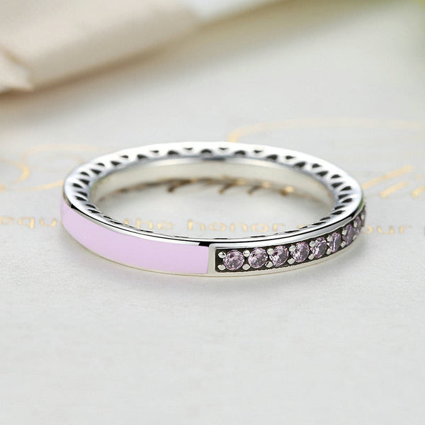 Silver Sterling Sparkling Pink Radiant Hearts of Stack able Ring