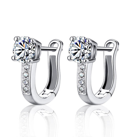 Sterling Silver Delicate Sparkling Elegance Stud Earrings + gift box