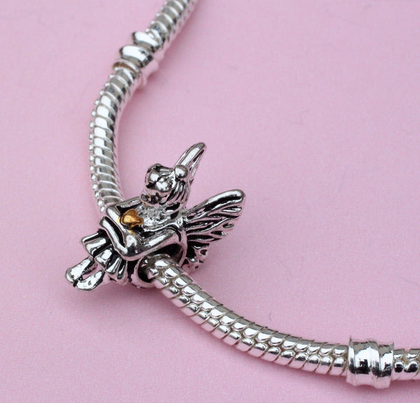 Pixie Fairy angel wings gold heart Charm