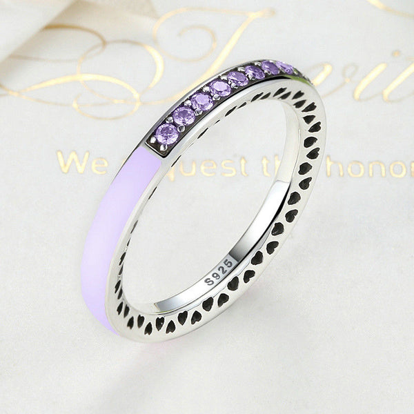 1ca04576e Silver Sterling Sparkling Purple Radiant Hearts of Stack able Ring pandora  ...