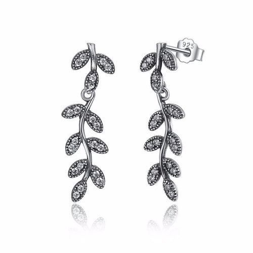 pandora style Dazzling SHIMMERING LEAVES Drop Earrings