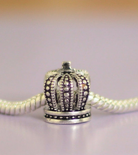 Silver Plated royal crown Charm fits pandora bracelets