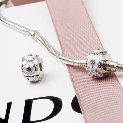 Silver Plated Pink Cherry Blossom Clip Stopper Charm for pandora